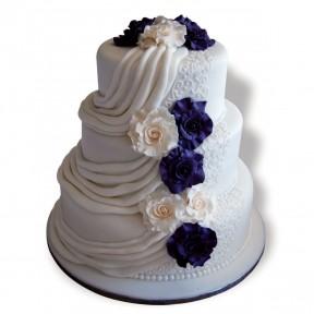 Wedding 3tier_purple-ivory roses