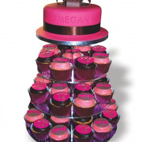 Fuschia 18cake&cupcake tower