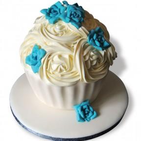 Turquoise Rose Giant Cupcake