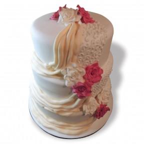 Wedding 3 tier pink roses&sash