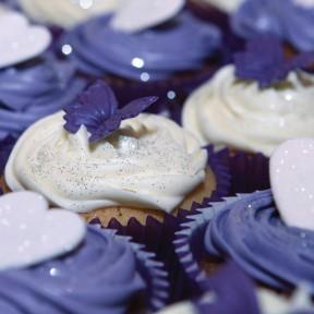 purple ivory cupcakes