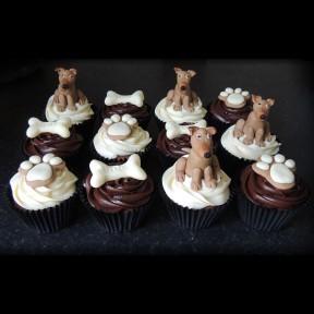 Dog and bone cupcakes