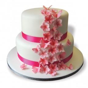 Wedding 2tier pink petunias