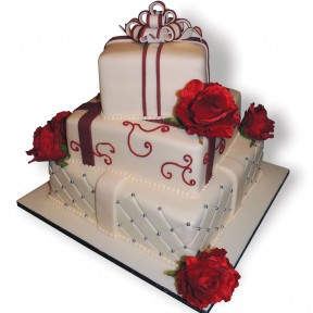 Wedding 3tier Red Roses