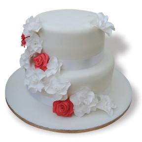 Wedding 2 tier + redroses