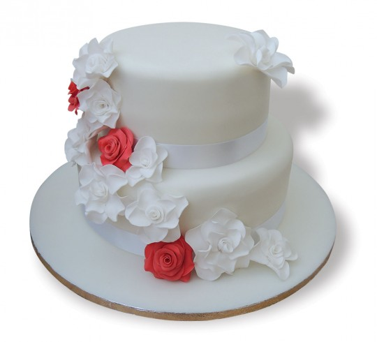 Two tier red and white wedding cake 5000 simple wedding cakes overview a 2 tier wedding cake with delicate white flowers junglespirit Choice Image