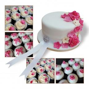 Wedding Top Tier + Cupcakes_pink