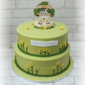 2 tier sunflower wedding