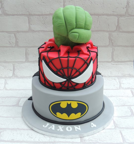 2 tier Batman & Spiderman + Hulk fist
