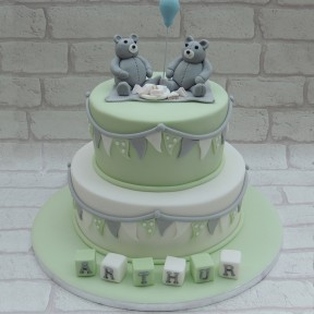 2 tier mint green christening Teddies