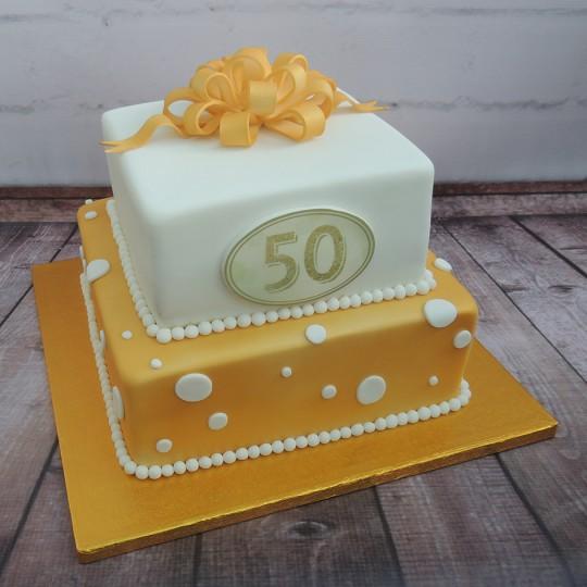 Golden 50th Anniv 2 tier