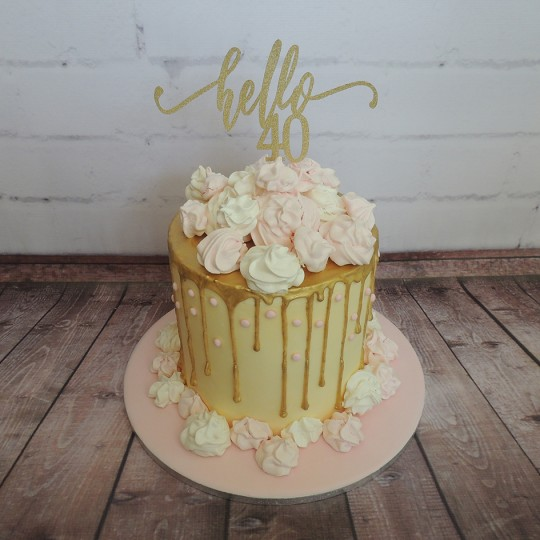 Gold Drip with Meringues